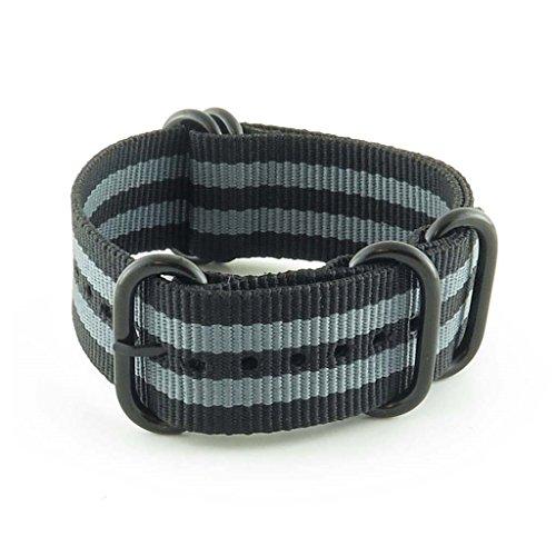 StrapsCo 16mm Premium Black Grey Stripe Nato Zulu G10 Ballystic Nylon Watch Strap w/ Black Rings