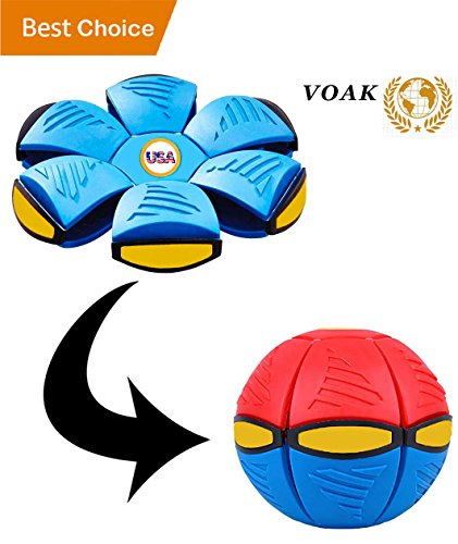 Fun Frisbee (VOAK Frisbee ~ Ufo Magic Ball Flying Disc Flat Ball - Frisbee Ball Frisbee For Dogs Ufo Magic Ball and Frisbee - Healthy Family Fun Time and Perfect Gift (Adults/Kids Indoor and Outdoor) - (RED/BLUE))