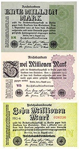 DE 1923 INFLATION SENSATION!! 3 UNCIRCULATED BANKNOTES! 1, 2 & 10 MILLON MARKS! Choice Crisp AU to Choice Crisp CU