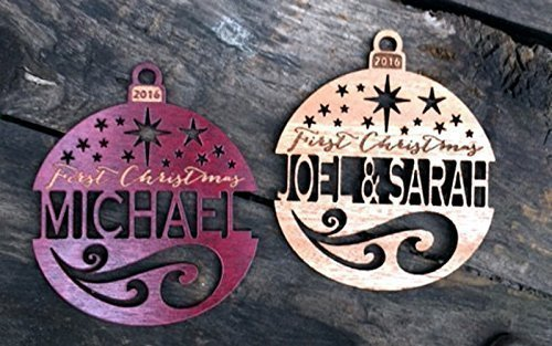 Personalized First Christmas Ornament (any year) from Solid Wood. Ships Fast! - Handmade Personalized Ornaments