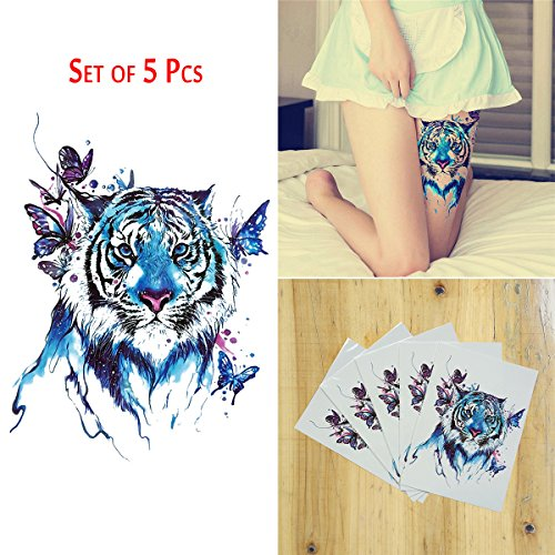 COKOHAPPY 5 Sheets Temporary Tattoo , Large Tattoo Butterfly Tiger Flash (Tiger Butterfly Tattoo)