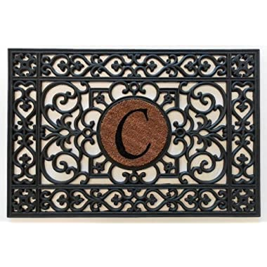 Home & More 160012436C Doormat, 24  x 36  x 0.60 , Monogrammed Letter C, Black