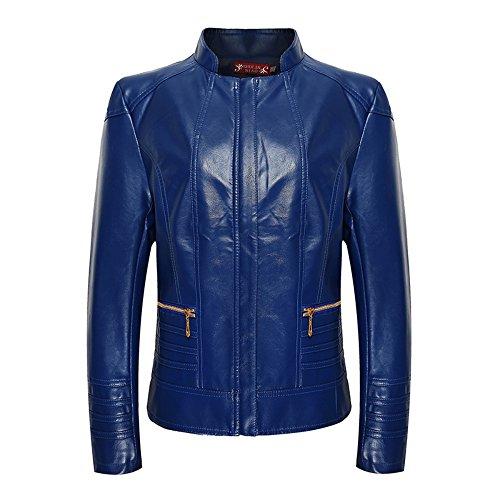 Biker Collier en en Bleu Zipper Blouson cuir Veste cuir VesteVeste Jacket Leather iLory Femme wqUPYEE1