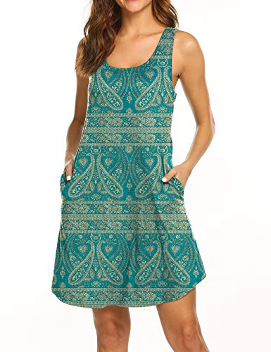 Womens Floral Dresses with Pockets Summer Sleeveless Paisley Print Vintage Boho Dress Green S