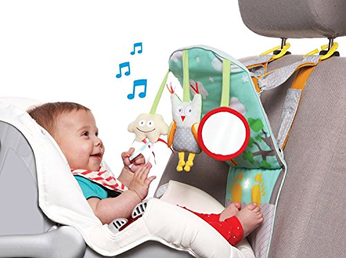 Taf Toys Play & Kick Car Seat Toy | Baby's Activity & Entertaining Center, For Easier Drive And Easier Parenting| Keep Baby Calm| Lights & Musical, Baby Safe Mirror, Detachable Toys ()