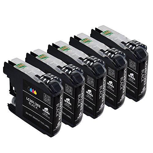 5 Black Brother LC203 XL Ink Cartridge Replacement Works with Brother MFC-J4320DW MFC-J4420DW MFC-J4620DW MFC-J5520DW MFC-J5620DW MFC-J5720DW MFC-J480DW J485DW J460DW J880DW J680DW J885DW
