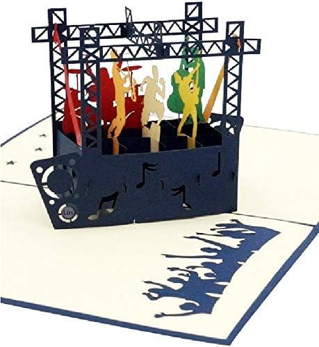 LIN17583 popup kaarten muziek popup kaart POP up kaarten verjaardag popup verjaardagskaart POP up kaarten musical verjaardag 3D wenskaarten verjaardagskaart voucher Jazz Rock Pop concert N339