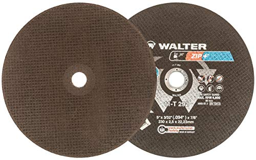 """Walter Zip+ Superior Performance Cutoff Wheel, Type 1, Round Hole, Aluminum Oxide, 9"""" Diameter, 3/32"""" Thick, 7/8"""" Arbor, Grit A-46-ZIP (Pack of 25)"""