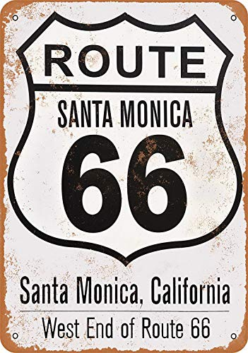 Weytff 12 x 16 Metal Sign - Santa Monica Route 66 End Pub Home Decor Metal Tin Sign