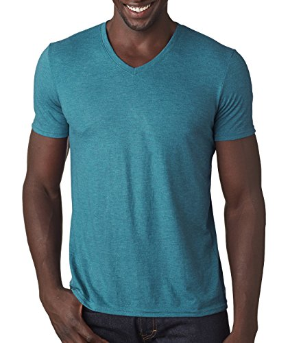 (Anvil Adult Tri-Blend V-Neck Tee, Heather Galapagos Blue, XX-Large)