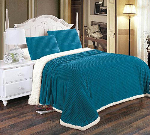 (Ultra Lush Reversible Sherpa Corduroy Blanket (King, Teal))