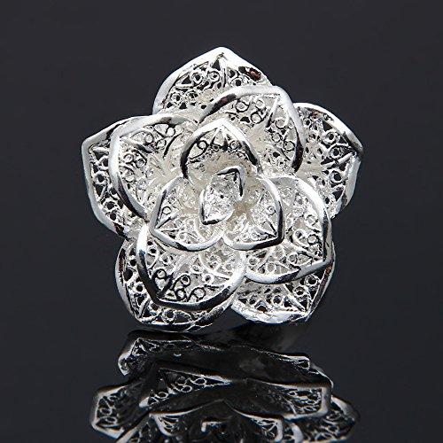 Facilla Bague Anneau Reglable Originale En Plaque Argent Fleur Rose