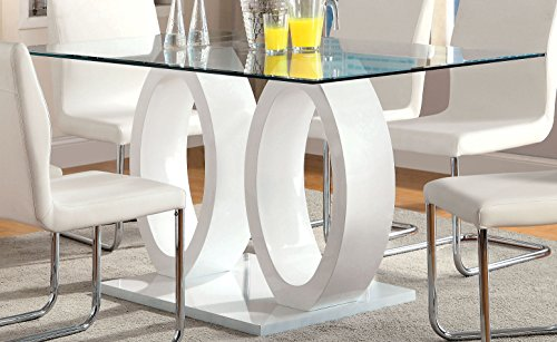 Furniture of America Quezon Glass Top Double Pedestal Dining Table, White Rectangular Pedestal Dining Table