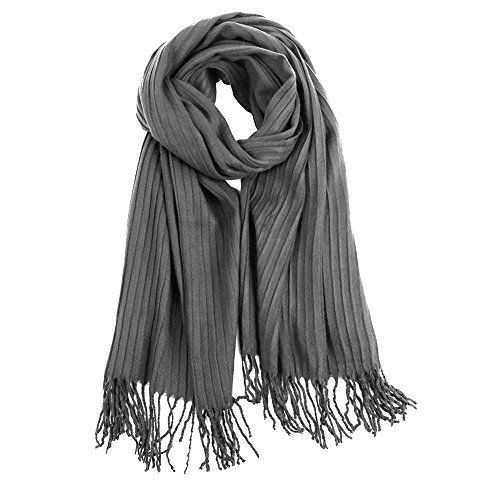 VBIGER Fashionable Long Soft Shawl Scarf Double Sided Winter Warm Scarf Wraps Shawl Oversized Large for Men and Women (Grey) by VBIGER