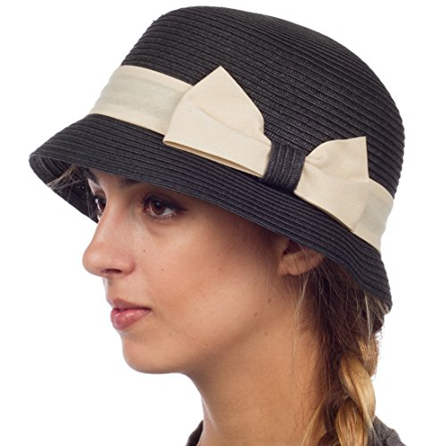 EH1641LC - Womens 100% Paper Straw Ribbon Bow Accent Cloche Bucket Bell Summer Hat - Black/One Size