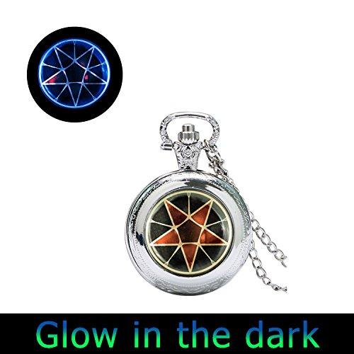 Glowlala® Glowing Black Butler Inspired pocket watch Pendant Necklace, Sebastian Michaelis inspired watch Pendant, Contract Seal, Kuroshitsuji, Anime watch Pendant
