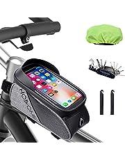 HOSOME Bike Frame Bag, Waterproof Bicycle Pouch Bag, Touchscreen Sun Visor Bike Storage Bag With 16 in 1 Screwdriver Repair Tool, 2 Bike Tyre Levers and 1 Rain Cover