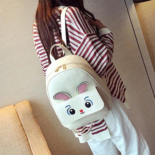 4Pcs Mochila bolso cruzados de la impresión de Crossbody conejo de mujeres y sostenedor de tarjeta por ESAILQ Beige