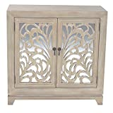 Heather Ann Creations 2 Door Accent Cabinet/Console with Mirror Backed Carved Grille and Center Shelf, 32'' x 32'', White