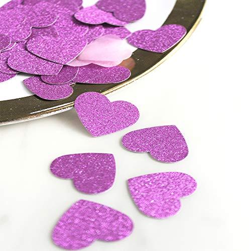 Glitter Paper Confetti,FAYEAH Recyclable Heart Glitter Paper Confetti(180pcs) for Valentine's Decor, Wedding, Party, Decor, DIY Table Confetti Decor (Purple)