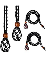 2 Pieces Necklace Cord Empty Stone Holder Empty Stone Holder Hand-Woven Necklace Cord Replacement Necklace Rope with Adjustable for DIY Jewelry Making