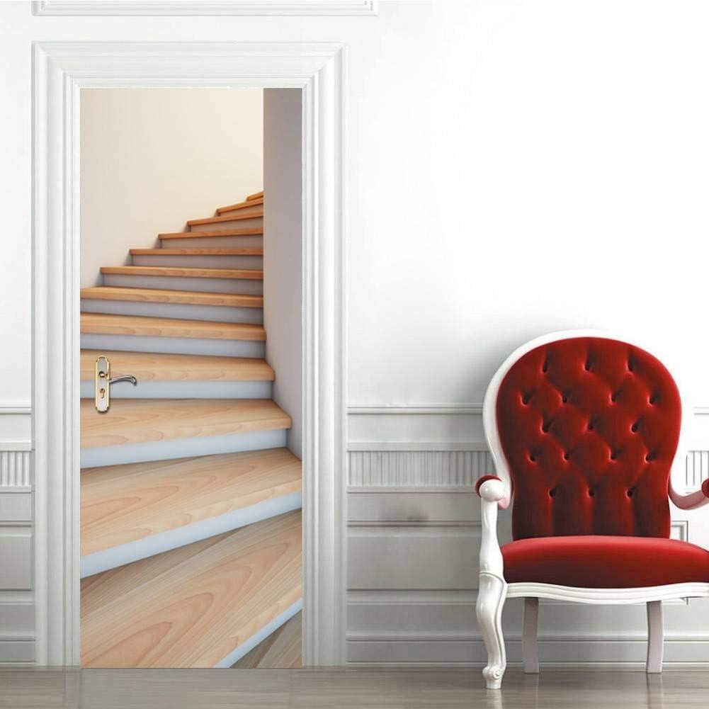 ZXCVWY Etiqueta de la Puerta Escalera de Caracol 3D DIY Wallpaper habitación de los niños Pegatinas de Pared decoración del hogar Poster Puerta Decorativa Etiqueta de la Puerta Mural Apliques: Amazon.es: Hogar
