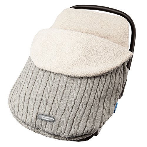 JJ Cole - Knit Bundleme, Canopy Style Bunting Bag to Protect Baby from Cold and Winter Weather in Car Seats and Strollers, Graphite, Birth to 1 Year