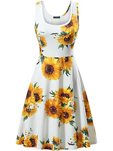 FENSACE Women's Sleeveless Summer Floral Print Leaf Dress,18034-9,Medium (Going Out Clothes For 30 Year Old)