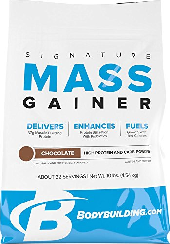 Bodybuilding Weight Gainers - BodyBuilding.Com Signature Mass Gainer Protein Powder Chocolate | Muscle Builder | 67g Lean Muscle Gaining Protein | 10 pounds, 22 Servings