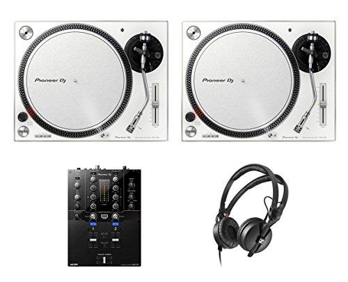2x Pioneer PLX-500 White DJ Turntable + DJM-S3 DJ Mixer + HD