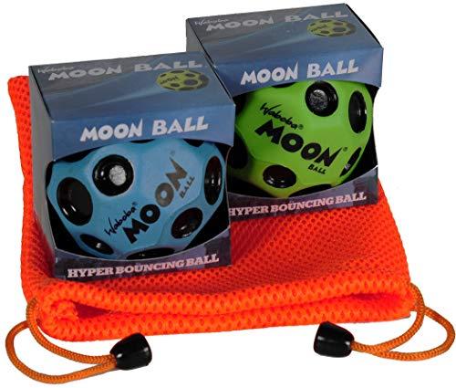 Waboba Moon Balls, Bundle of 2, 1 Blue & 1 Green, with Bonus Orange Mesh Drawstring Pouch || Bundled Items by Waboba (Image #1)