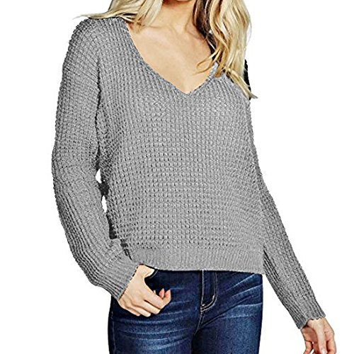 iPretty Sexy Womens Long Sleeve V-Neck Knitted Jumper Loose Sweater Pullover Top, Grey, M.