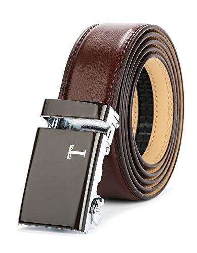 (Tonywell Belt Men's Leather Ratchet Belt, 40mm Buckle (One Size:32