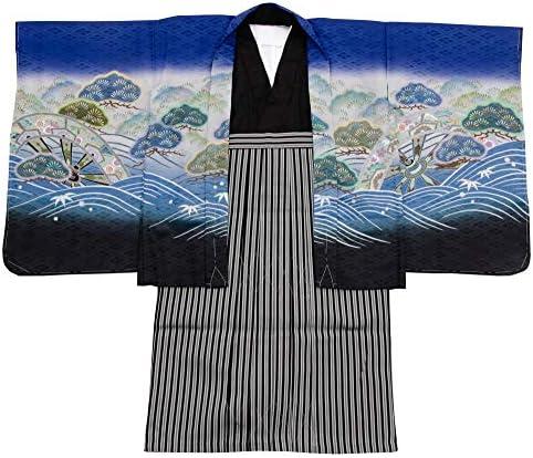 七五三 着物 男の子 五歳 13点フルセット 羽織袴セット 鷹 ブラック 黒色 3510-00006-1