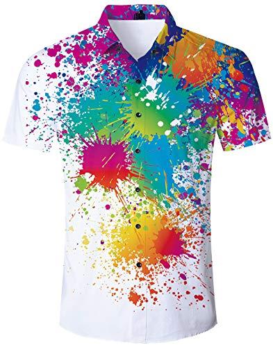 TUONROAD Funny Hot Printed Pattern Funky Colorful Tie Dye Graffiti Paint Short Sleeve Dress Polo Shirts Men Button Down Shirt Casual Retro Awesome Hawaiian Aloha Attire Shirt Hawaiian Top (Best Man Holiday Images)