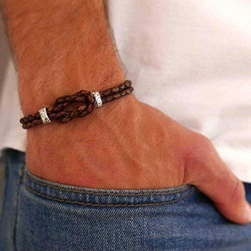 """Handmade Cuff Brown Genuine Leather Bracelet For Men Set With Celtic Knot By Galis Jewelry - Celtic Bracelet For Men - Infinity Bracelet For Men - FITS 7""""-8"""" WRIST SIZE"""