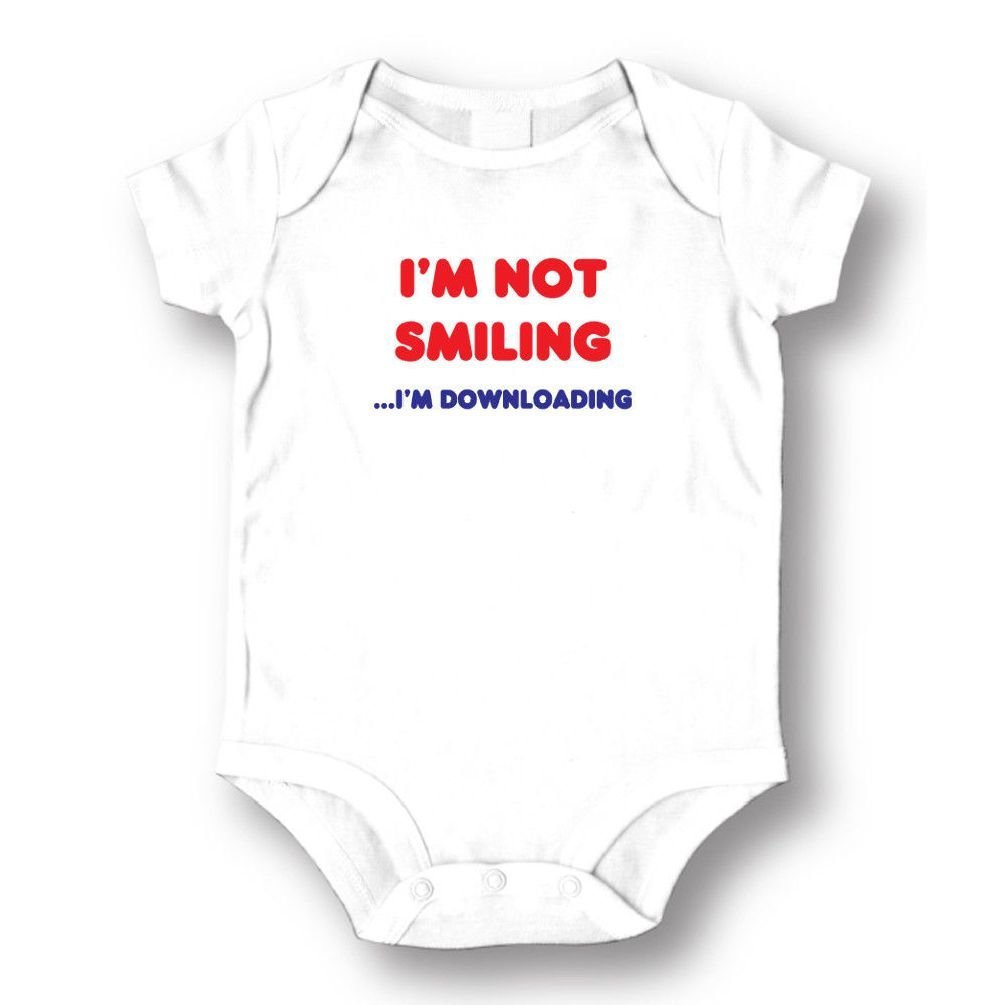 Dustin clothing series I'm Not Smiling I'm Downloading Baby Boys Girls Toddlers Funny Romper 0-24M