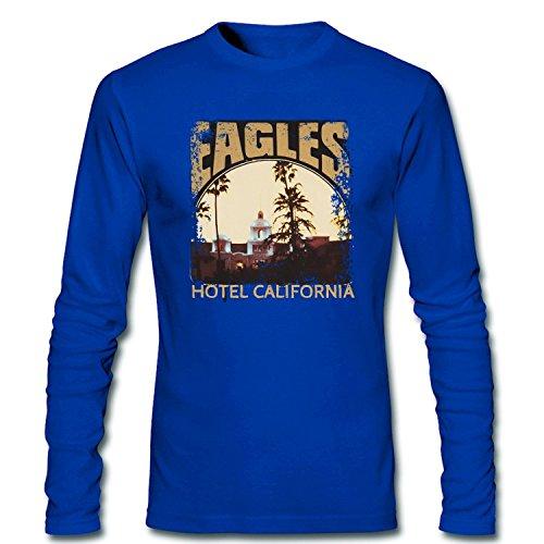 Jiuhe Men's Eagles Hotel California T Shirt medium blue M