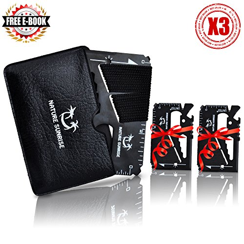 One Day Sale!!! 3X Survival Credit Card Multi-tool 14 in 1 Lightweight For Hunting Fishing Camping Gear Multitool SAS Wallet Multipurpose. great gift by Nature Sunrise + Bonus  Free Camping E-Book