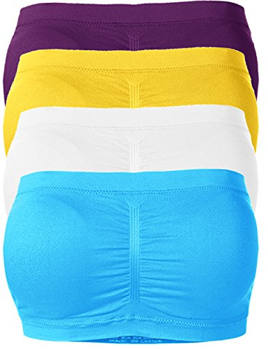 TL Women's Padded Bandeau Tube Top Bra Offered in One Size and Plus Sizes SET4_WHT_PUR_TUR_YEL Plus