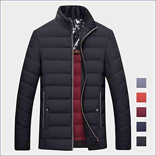 ZHUDJ Mens Jacket _ Mens Winter Jacket Zipper Collar Slightly Thin Dark Stripes L/175