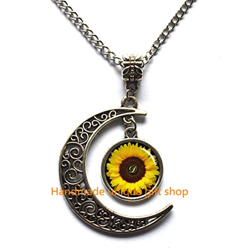 (Crescent Moon Necklace,Sunflower pendant , Yellow Sunflower necklace , sunflower jewelry ,spring jewelry, yellow flower gift idea for friends ,)
