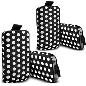 ONX3 - TWIN PACK - Nokia Lumia 520 Polka Tab funda protectora de cuero de la PU tirón bolsa de la cubierta de piel (Negro)