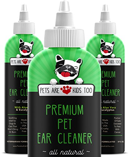 Ear Mite Relief - Premium Pet Ear Cleaner! Best All Natural Dog & Cat Ear Drops! Aloe Vera & Eucalyptus! Head Shaking, Discharge, Smell & Itching Relief from Mites, Yeast & Bacteria! Vet Recommended! (3 Pack)
