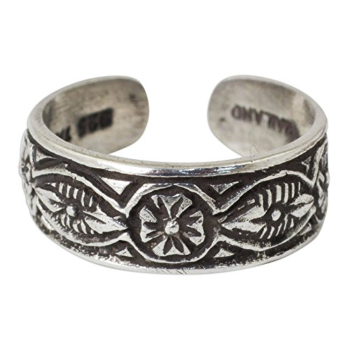 NOVICA .925 Sterling Silver Floral Toe Ring, Thai Flowers'