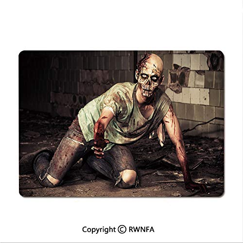 Waterproof Keyboard pad,Halloween Scary Dead Man in Old Building with Bloody Head Nightmare Theme(9.8