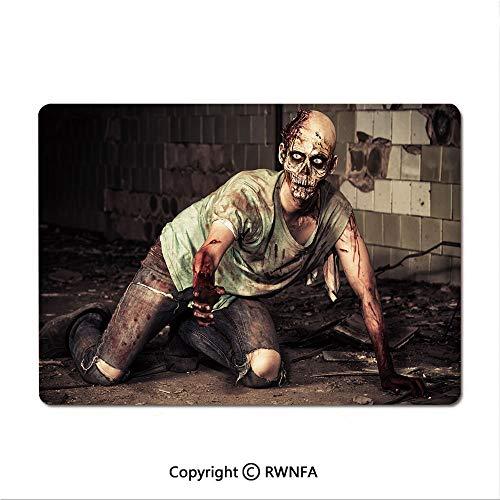 Waterproof Keyboard pad,Halloween Scary Dead Man in Old Building with Bloody Head Nightmare Theme(9.8