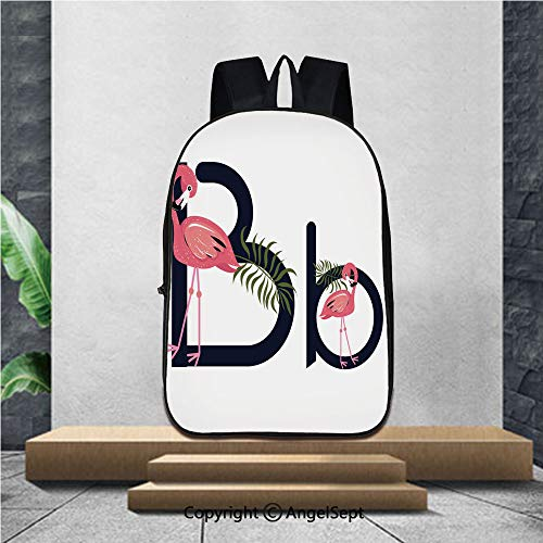 Printed Customized Casual Book Bag,Flamingos Lettering Alphabet A Z Tropical Bird Vector,16.5