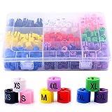 Hilitchi 288-Pcs Clothes Hanger Size Color-Coding Garment Size Markers Kit - 9 Size (XXS - 4XL) - with Storage Box