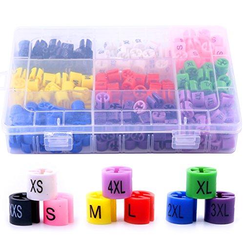 Hilitchi 288-Pcs Clothes Hanger Size Color-Coding Garment Size Markers Kit - 9 Size (XXS - 4XL) - with Storage Box]()